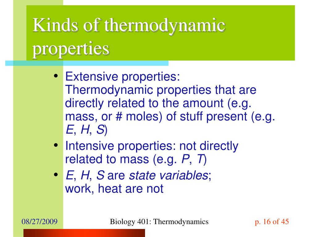 Kinds of thermodynamic properties