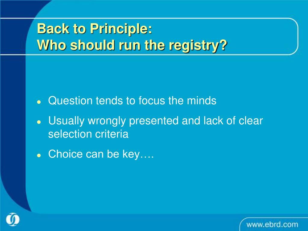 Back to Principle: