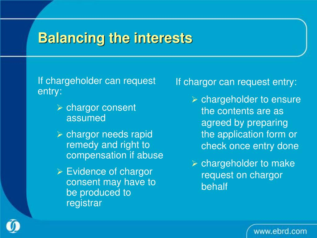 If chargeholder can request entry: