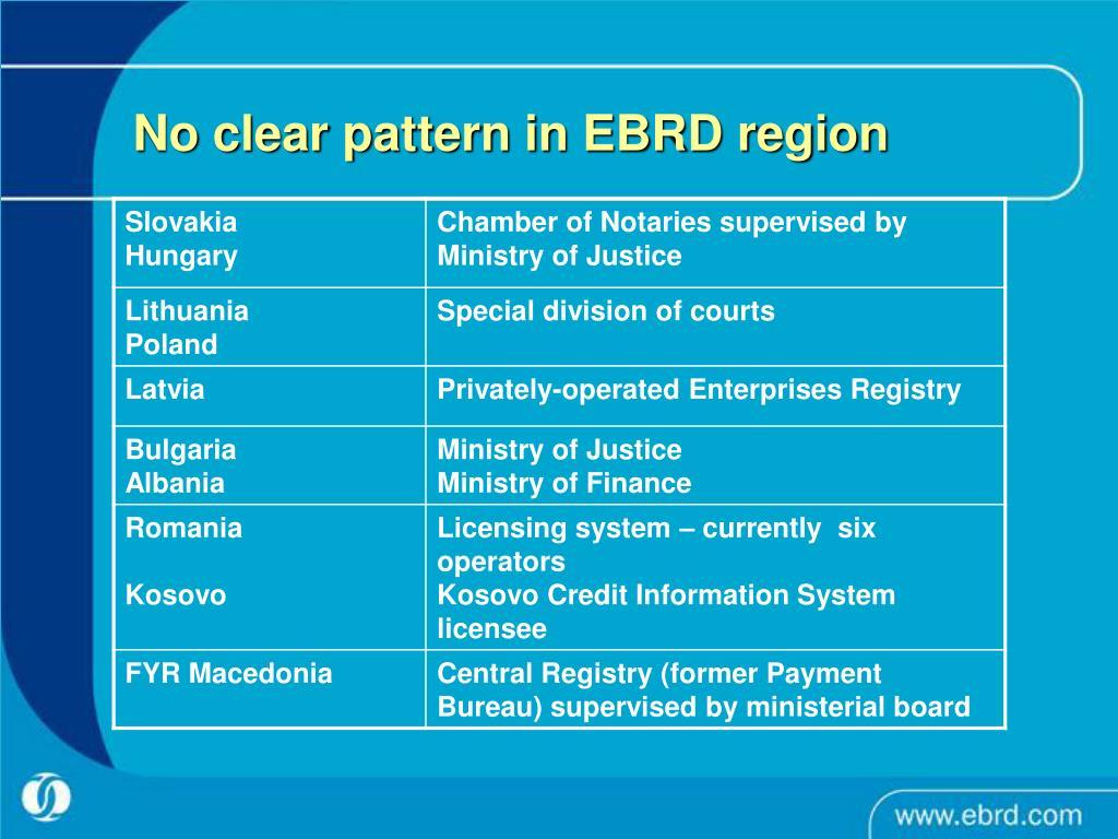 No clear pattern in EBRD region