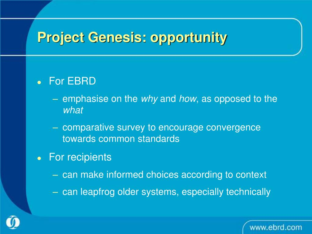 Project Genesis: opportunity