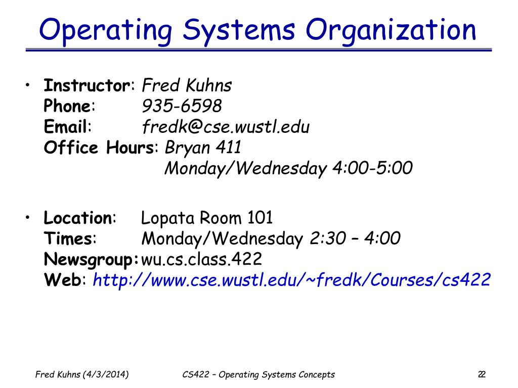Operating Systems Organization