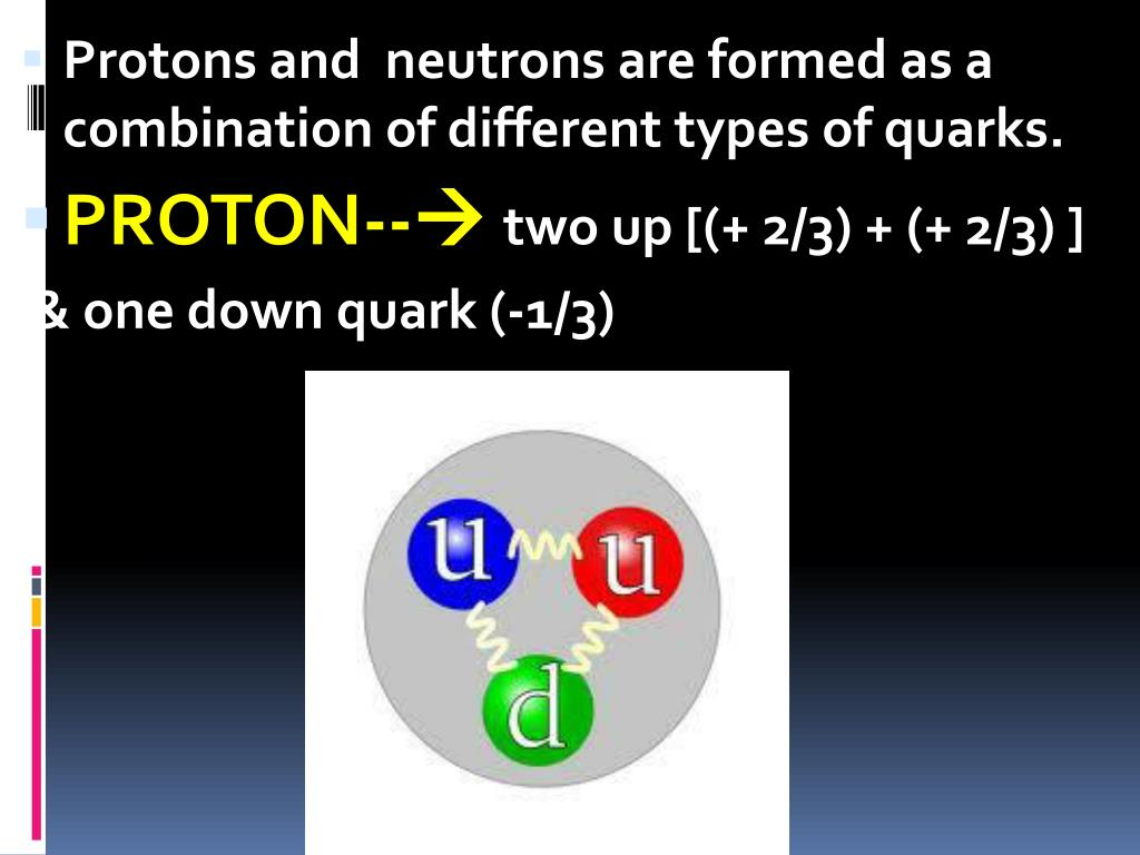Protons and  neutrons are formed as a combination of different types of quarks.