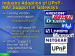 industry adoption of upnp nat support in gateways