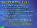 overcoming nat to date