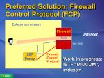 preferred solution firewall control protocol fcp