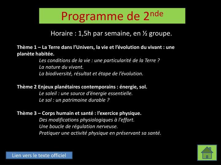 Programme de 2 nde