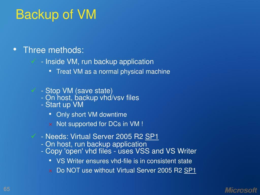 Backup of VM