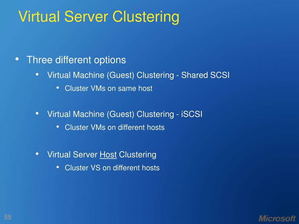 Virtual Server Clustering