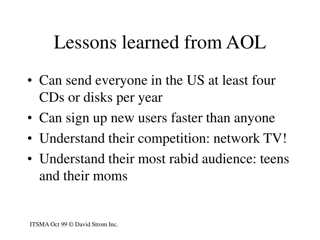 Lessons learned from AOL