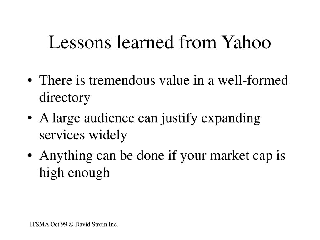 Lessons learned from Yahoo