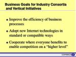 business goals for industry consortia and vertical initiatives