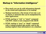 markup is information intelligence