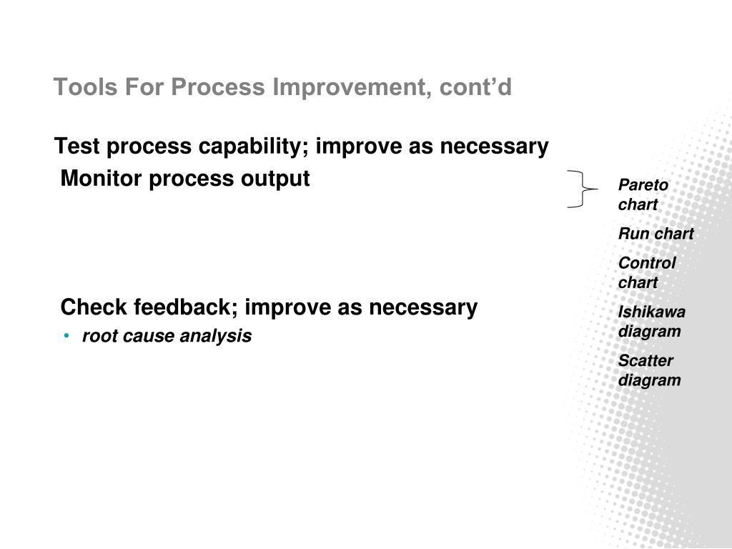 Tools For Process Improvement, cont'd