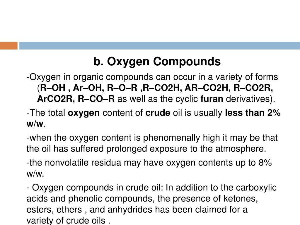 b. Oxygen Compounds