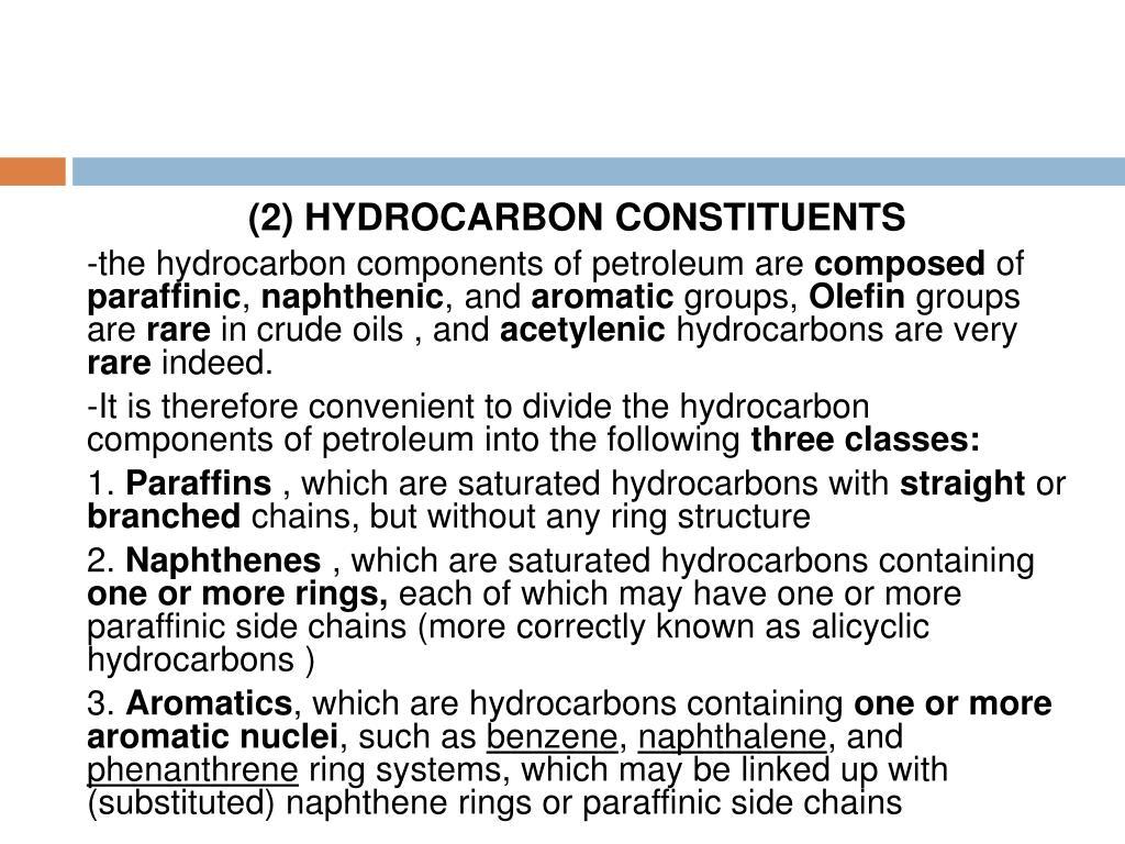 (2) HYDROCARBON CONSTITUENTS