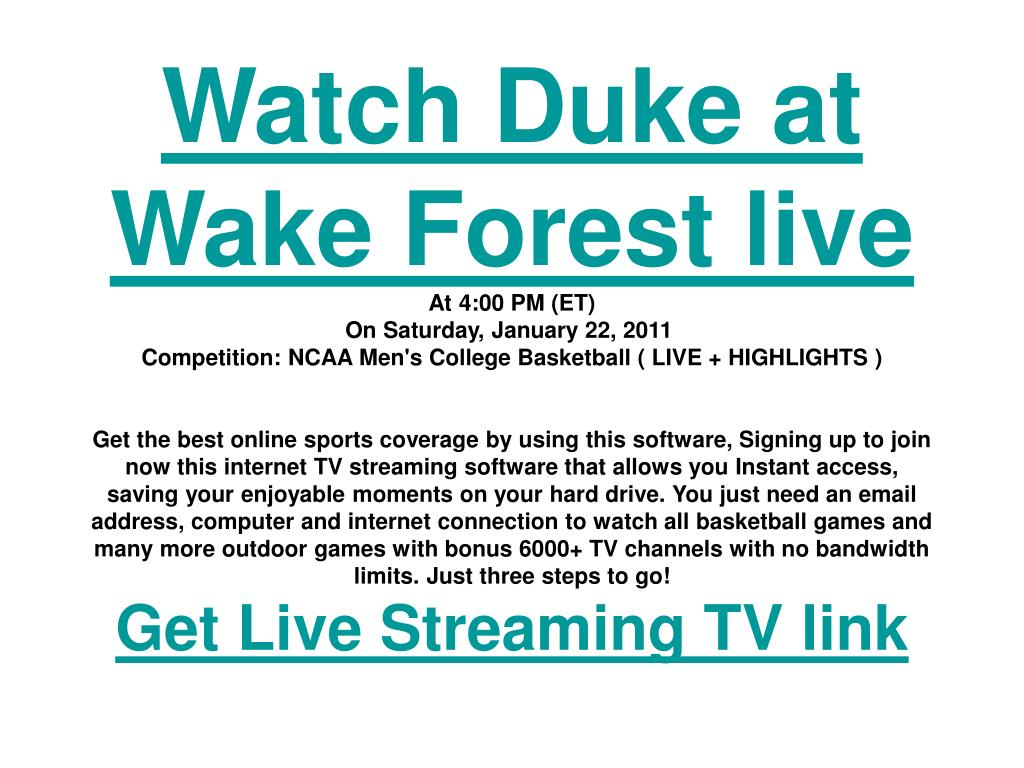 Watch Duke at Wake Forest live