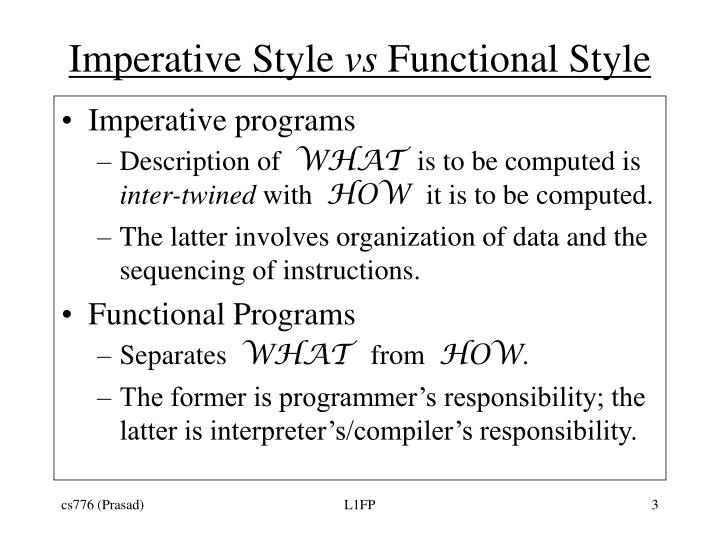 Imperative style vs functional style
