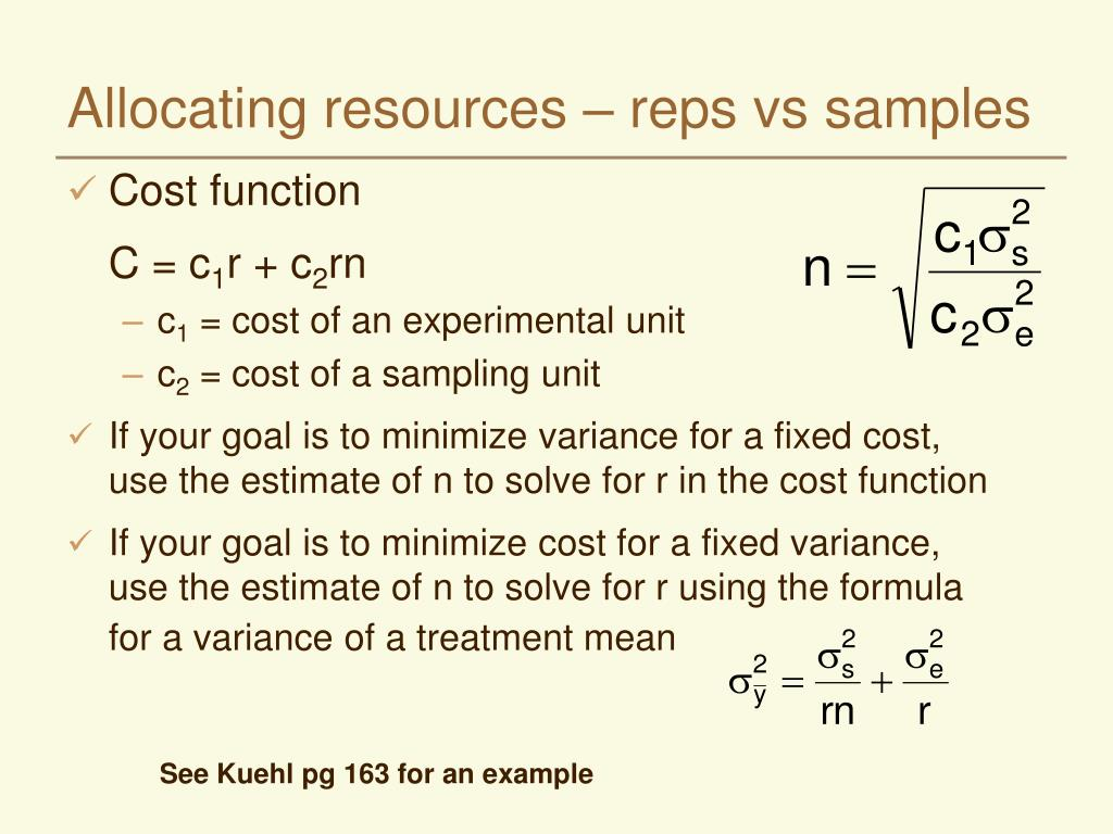 Allocating resources – reps vs samples