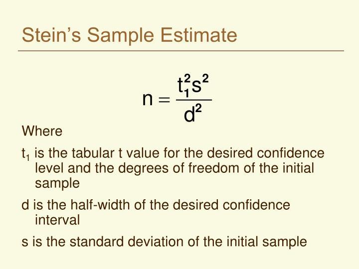 Stein s sample estimate