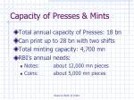 capacity of presses mints
