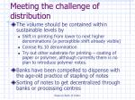 meeting the challenge of distribution