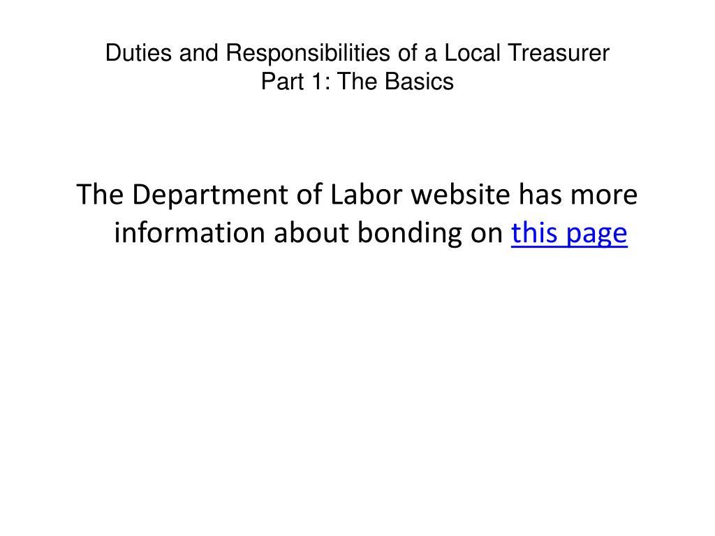 Duties and Responsibilities of a Local Treasurer