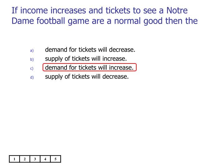 If income increases and tickets to see a Notre Dame football game are a normal good then the