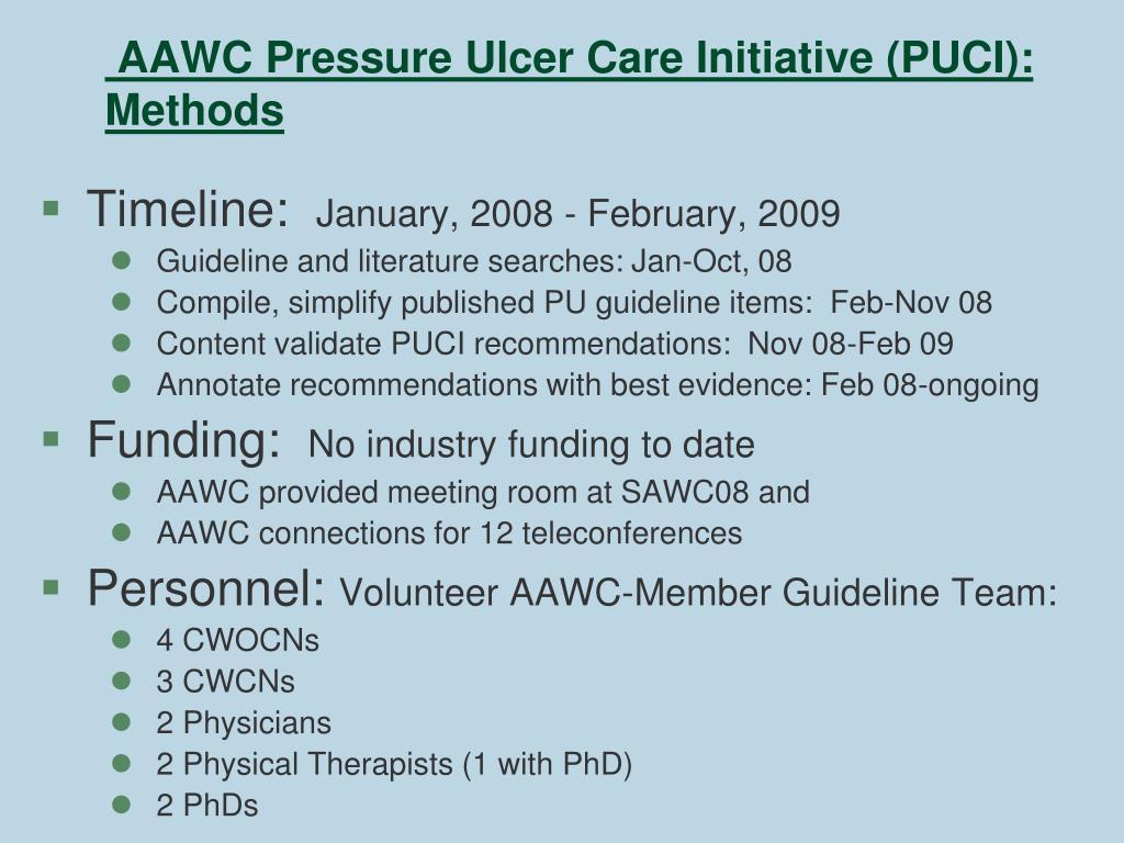 AAWC Pressure Ulcer Care Initiative (PUCI): Methods