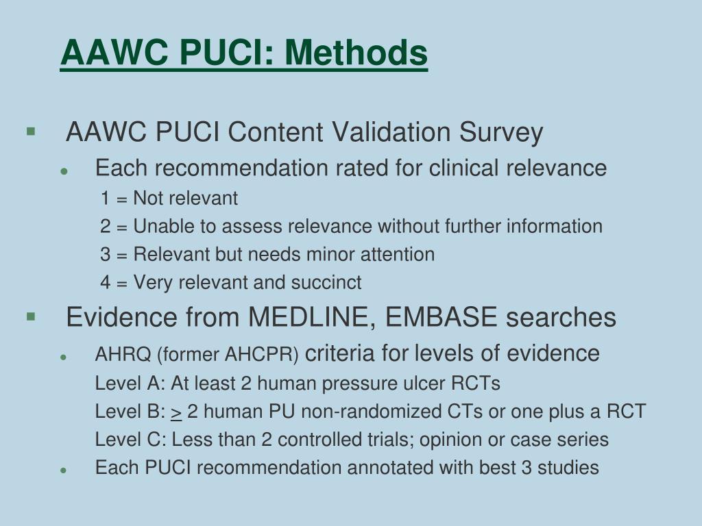AAWC PUCI: Methods