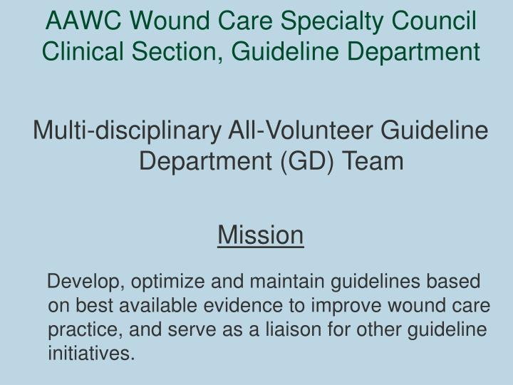 Aawc wound care specialty council clinical section guideline department
