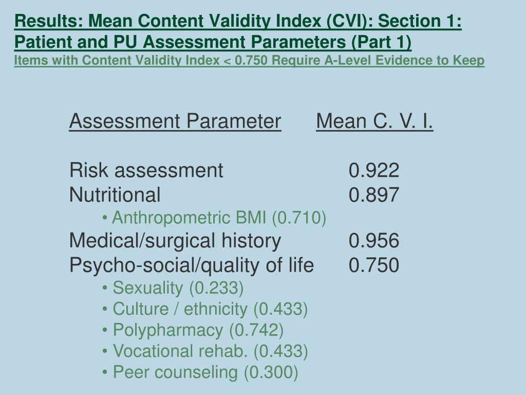 Results: Mean Content Validity Index (CVI): Section 1: