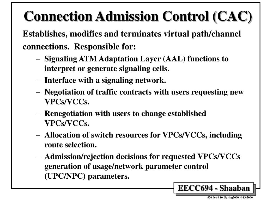 Connection Admission Control (CAC)