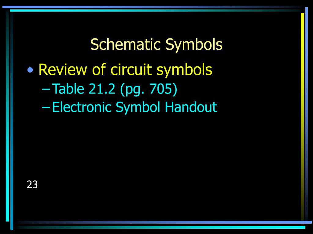 Schematic Symbols