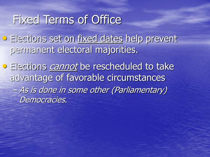 Fixed Terms of Office