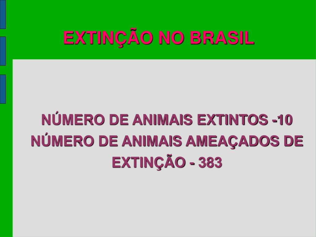 NÚMERO DE ANIMAIS EXTINTOS -10