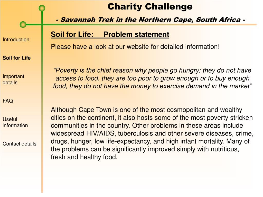 Soil for Life:	Problem statement