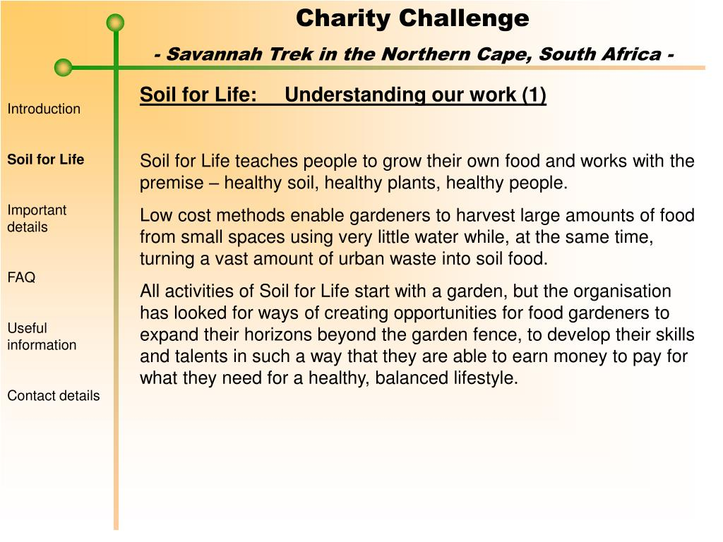 Soil for Life:	Understanding our work (1)
