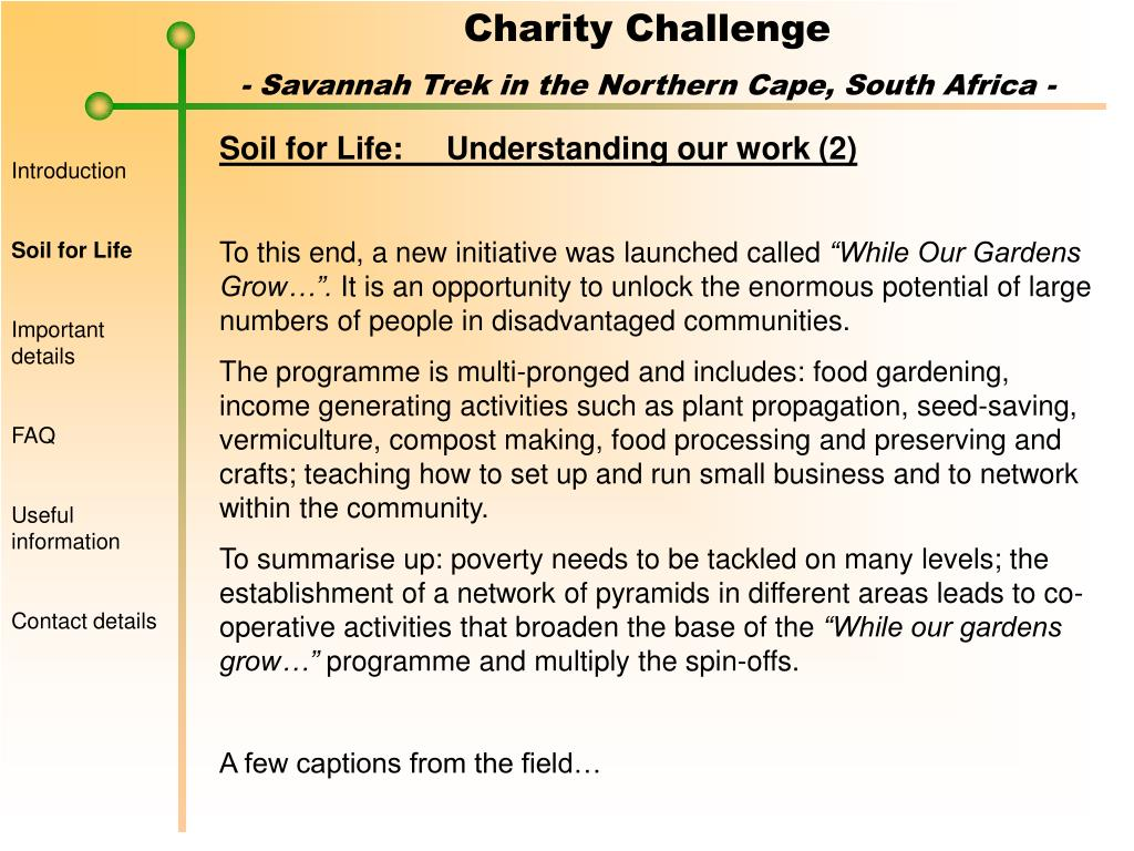 Soil for Life:	Understanding our work (2)