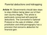 parental abductions and kidnapping