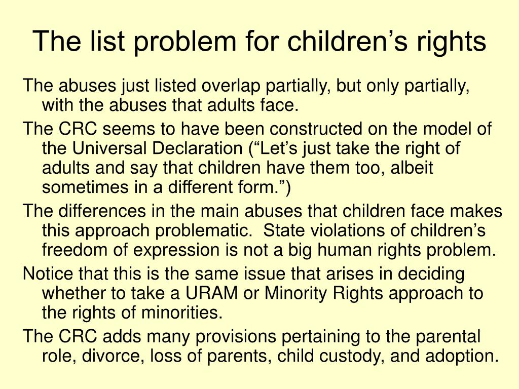 The list problem for children's rights