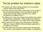 the list problem for children s rights