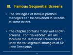 iii famous sequential screens