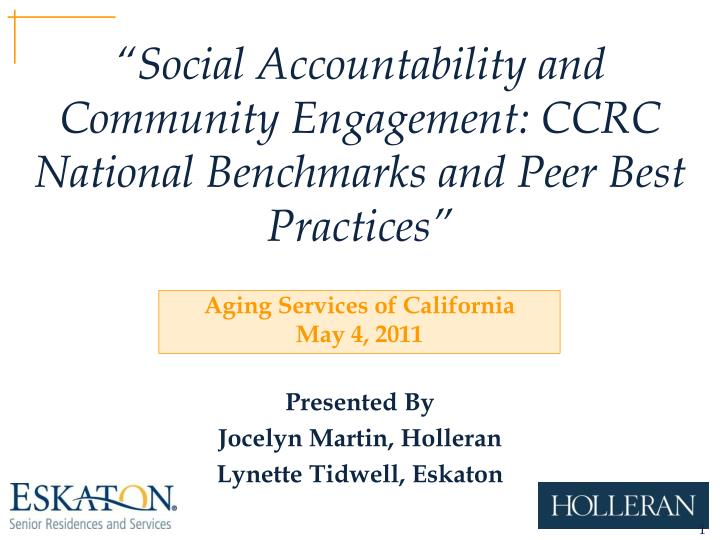 social accountability and community engagement ccrc national benchmarks and peer best practices n.