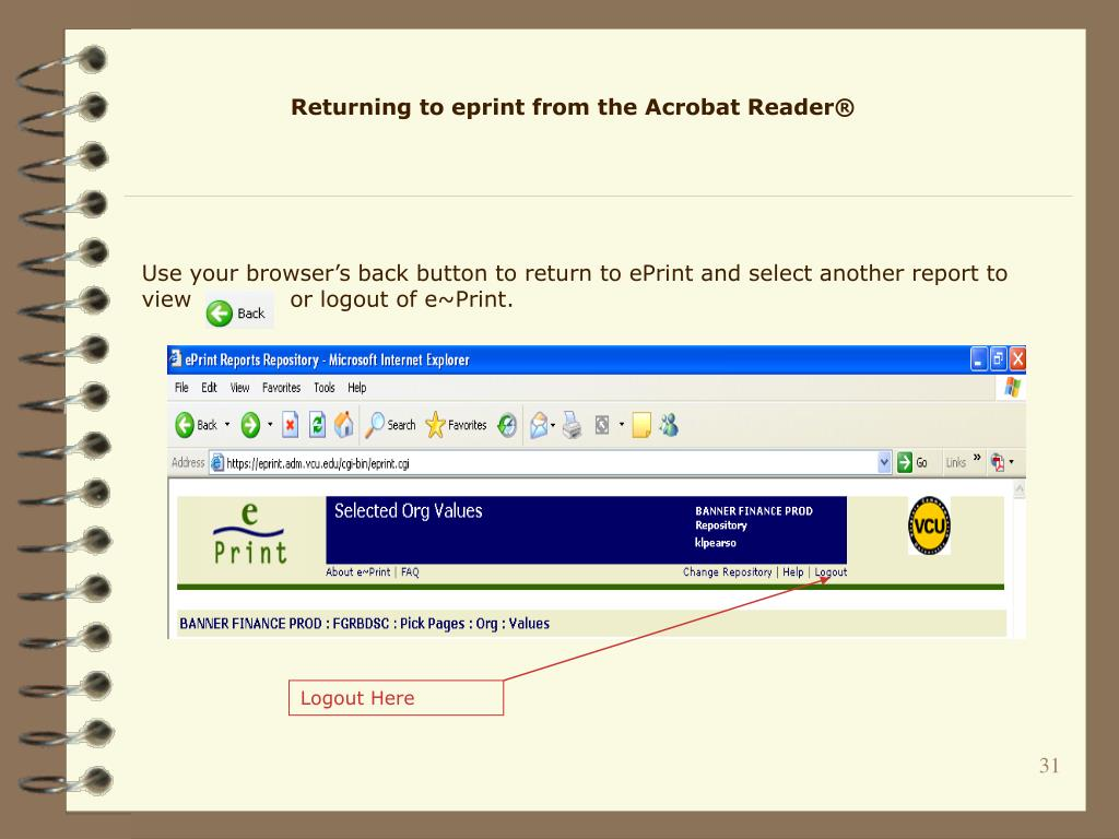 Returning to eprint from the Acrobat Reader®
