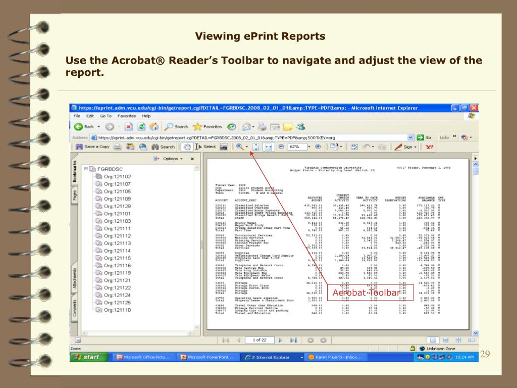 Viewing ePrint Reports