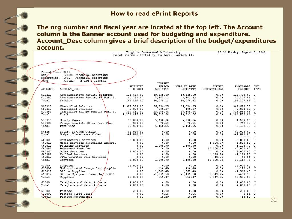 How to read ePrint Reports
