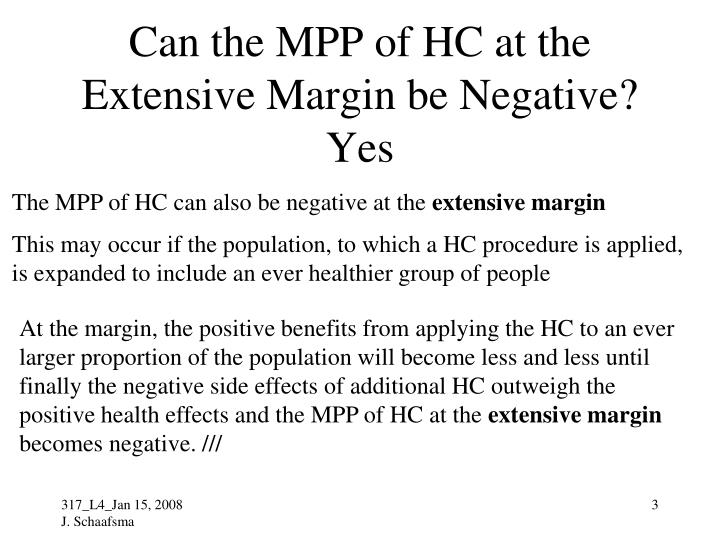 Can the mpp of hc at the extensive margin be negative yes
