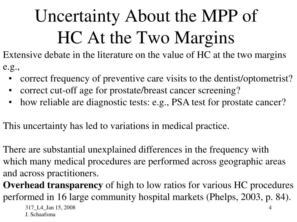 Uncertainty About the MPP of HC At the Two Margins