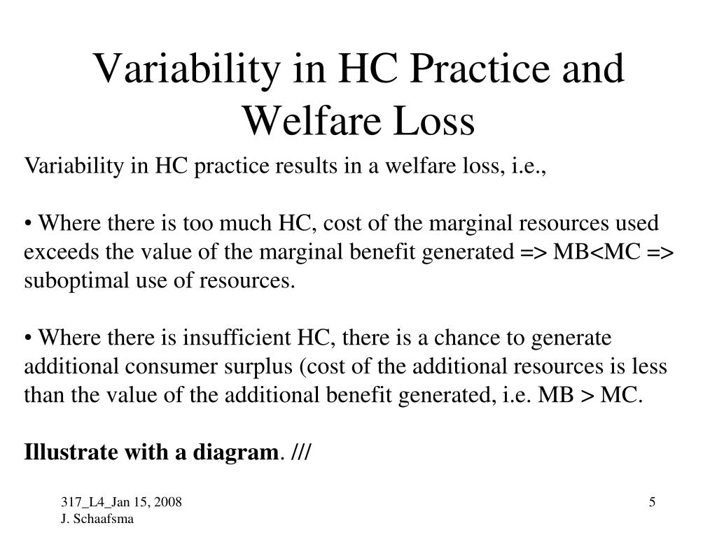 Variability in HC Practice and Welfare Loss